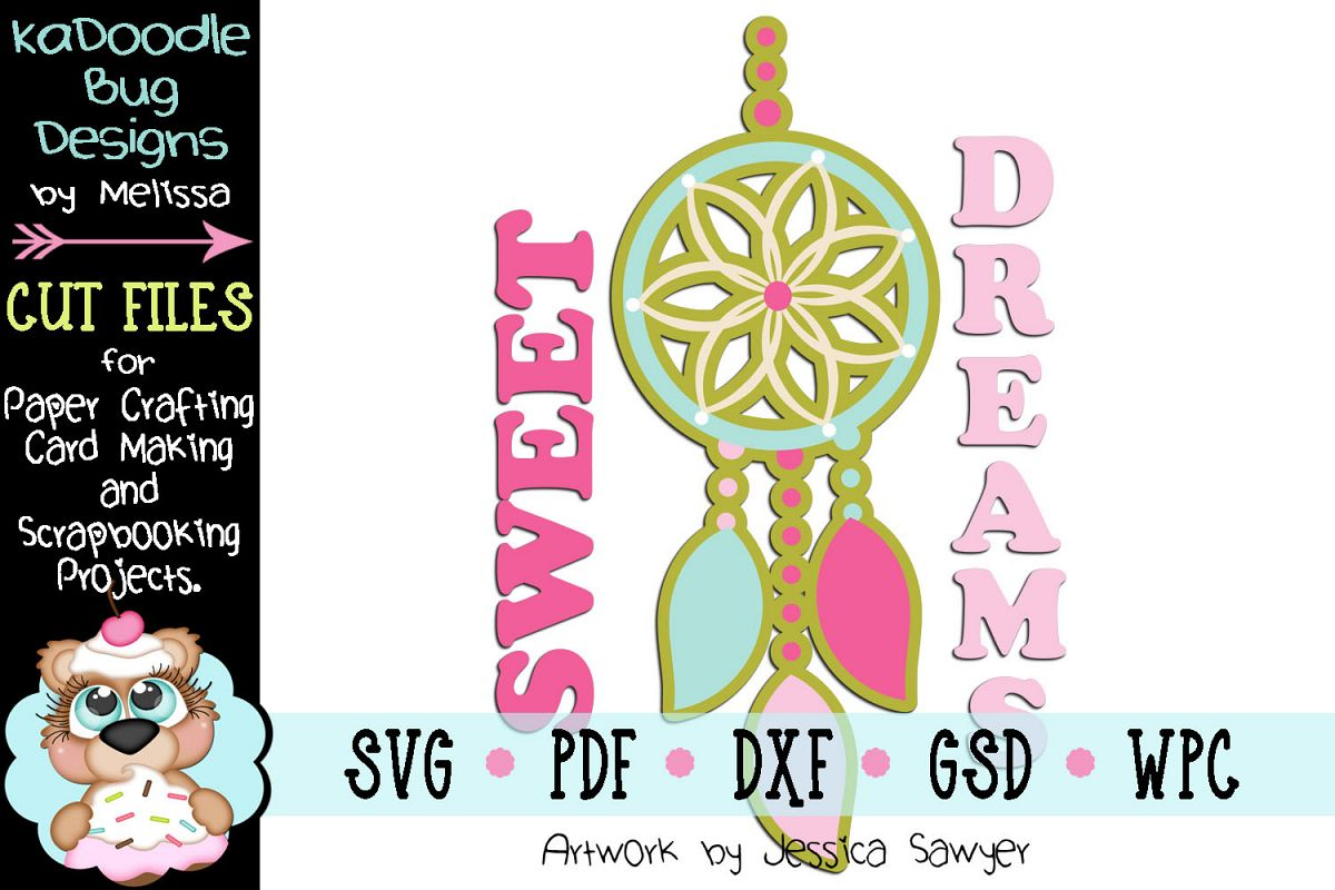 Sweet Dreamcatcher Cut File - SVG PDF DXF GSD WPC example image 1