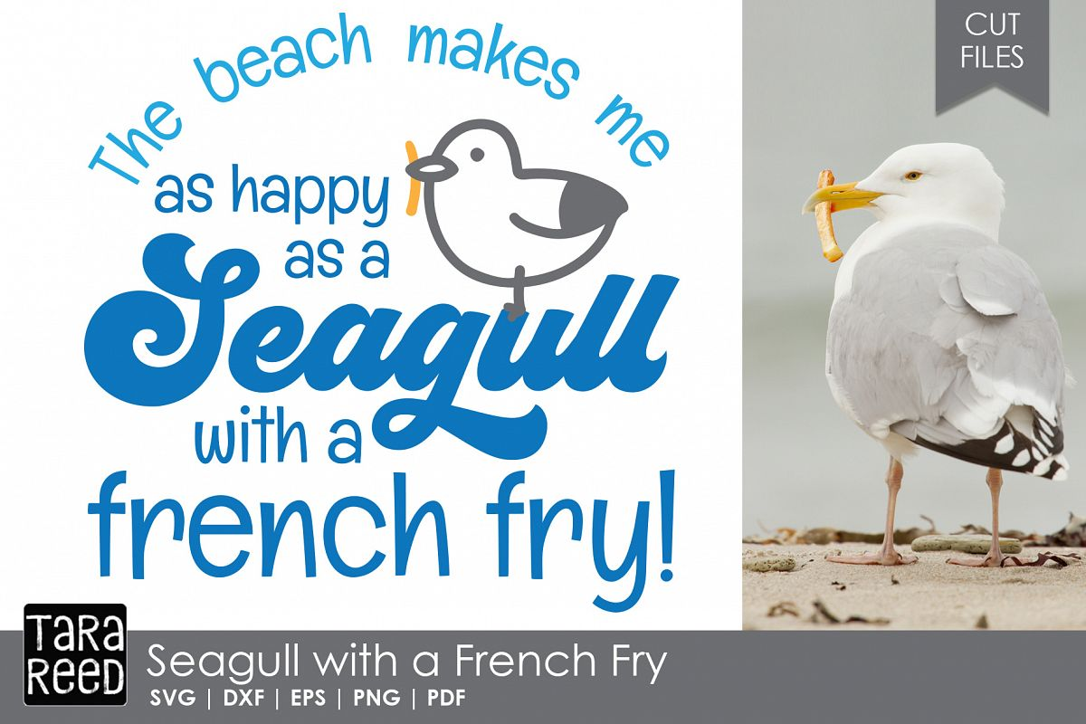 Seagull with a French Fry - Beach SVG and Cut Files example image 1