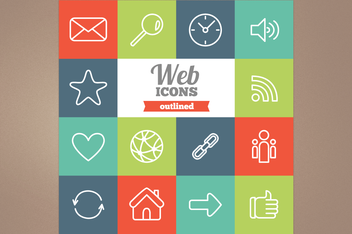 Outlined Web Icons example image 1