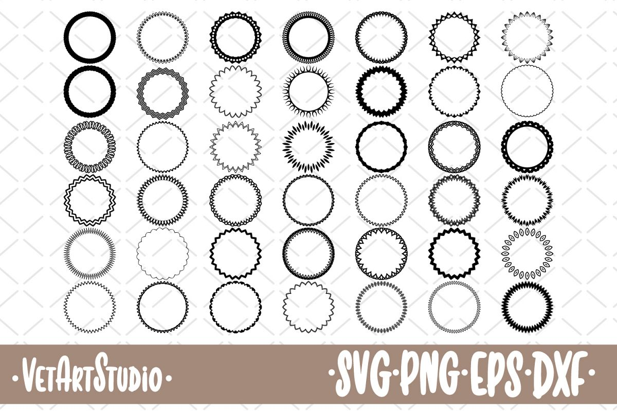 42 Round frames, circle border SVG example image 1