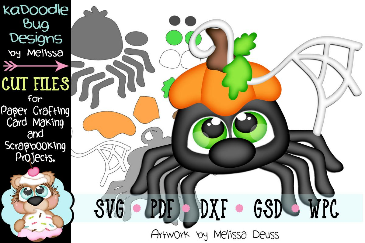 Fall Pumpkin Spider Cut File - SVG PDF DXF GSD WPC example image 1
