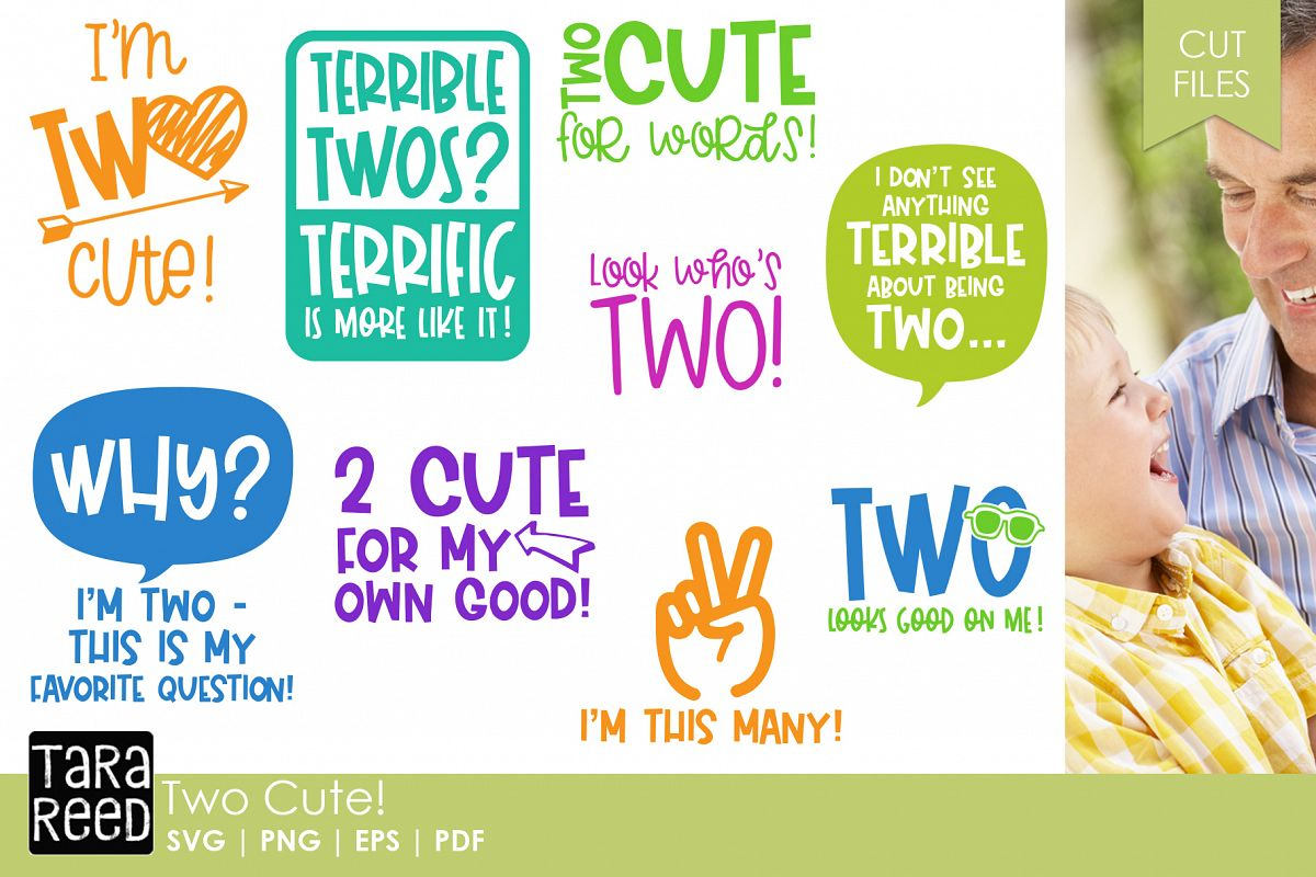 Two Cute! - Two Year Old SVG and Cut Files for Crafters example image 1