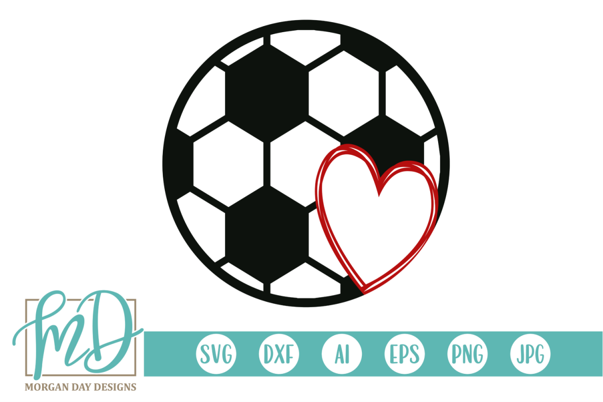 Soccer with Heart SVG, DXF, AI, EPS, PNG, JPEG example image 1