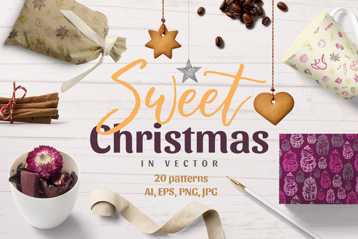Sweet Christmas - vector patterns example image 1
