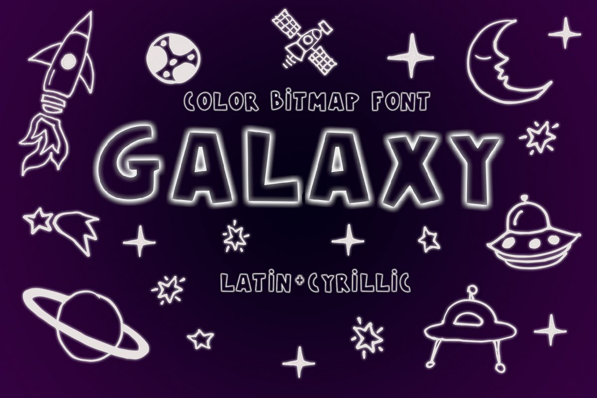 Galaxy Color Bitmap Font example image 1