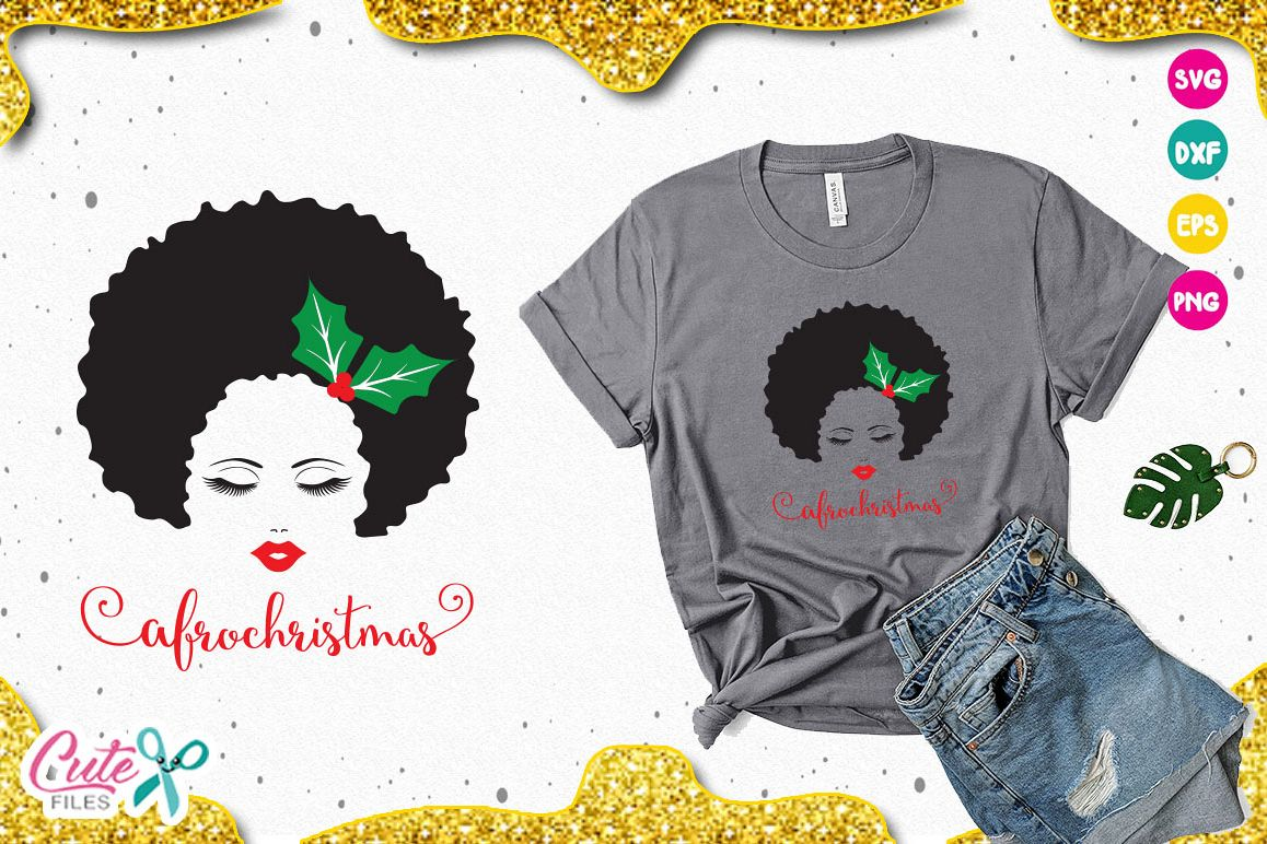 Afro christmas svg, holly leaves svg for crafter example image 1