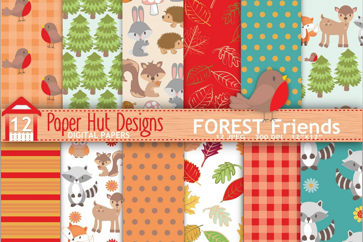Forest Animals Digital Papers example image 1