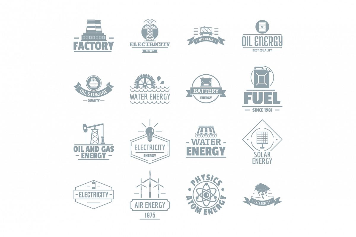 Energy sources logo icons set, simple style example image 1