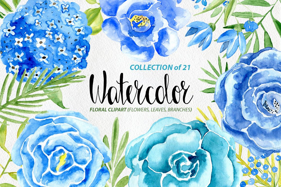 Watercolor blue flowers roses set example image 1