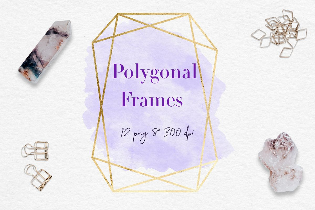 Gold And Watercolor Frames example image 1