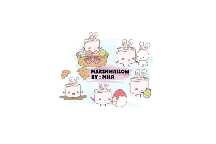 KAWAII MASRHMALLOW EASTER CLIPART BUNDLE PNG example image 1