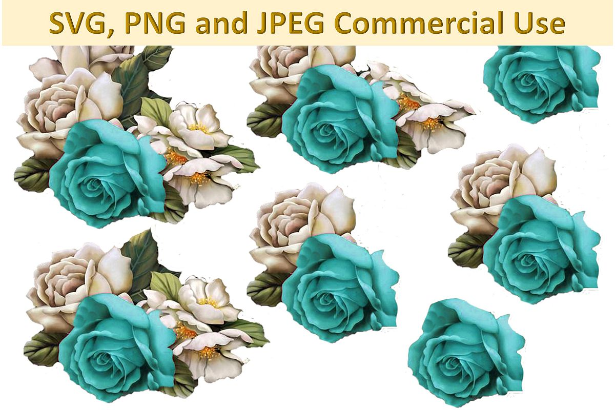 SVG, PNG and JPEG Blue Woodland Roses Collage sheet CU example image 1