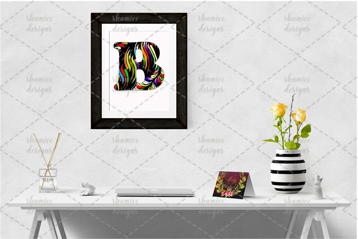 Floral striped coloring letters example image 1