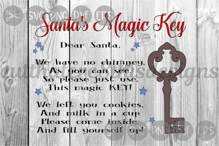 Santa's Magic Key, Chimney, Letter, Christmas, Cut File, SVG example image 1