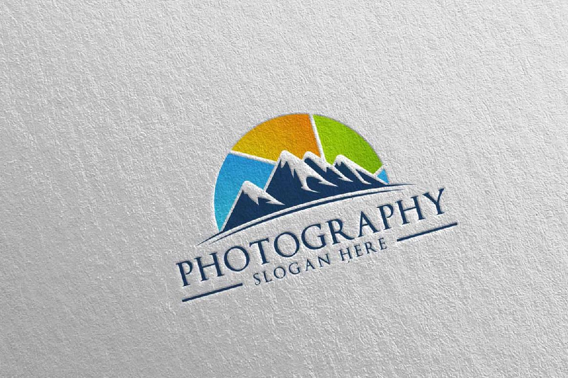 Abstract Mountain Camera Photography Logo 13 example image 1