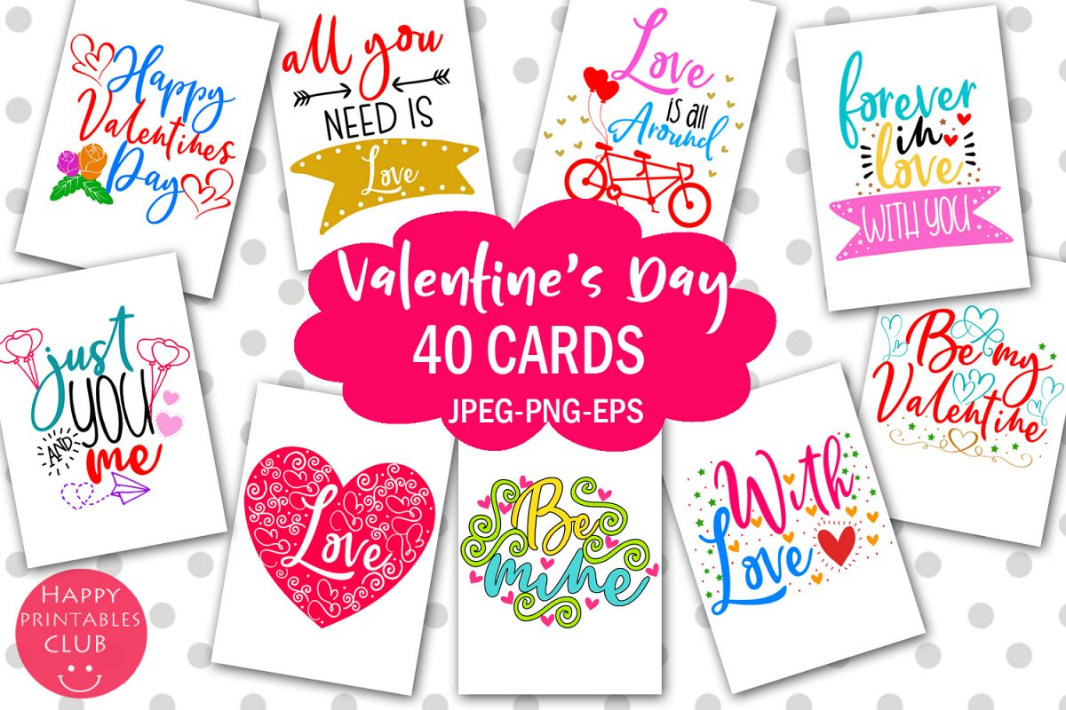 Cute Valentine's Day Cards- Printable Valentines Day Cards example image 1