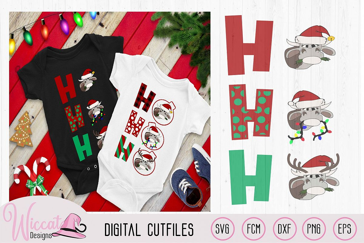 Ho Ho Ho Christmas Heifer cut file, cow with christmas light example image 1