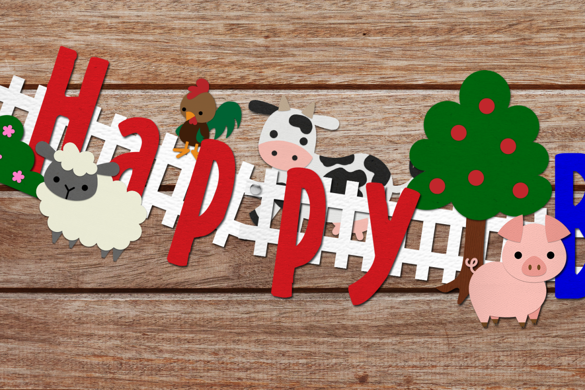 Farm Animal Party Banner SVG Design Bundle example image 1