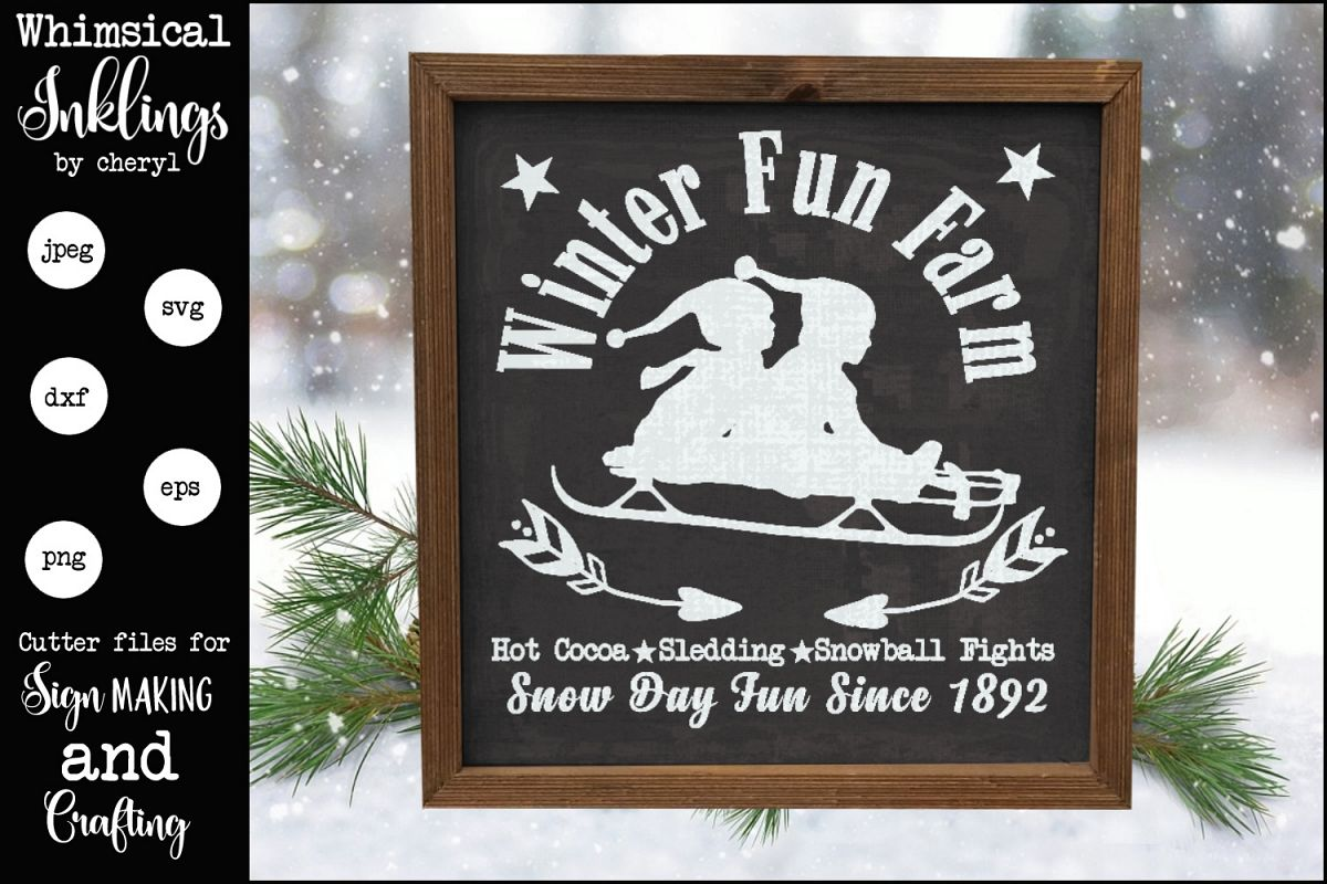 Winter Fun Farm Sign SVG example image 1