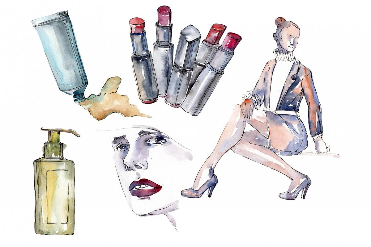 Fashion trends Watercolor png example image 1
