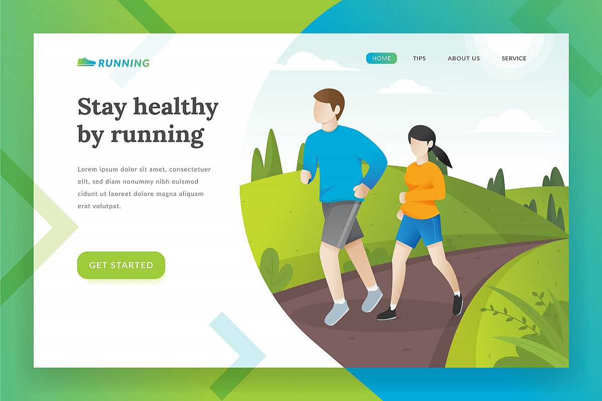 Running landing page illustration example image 1