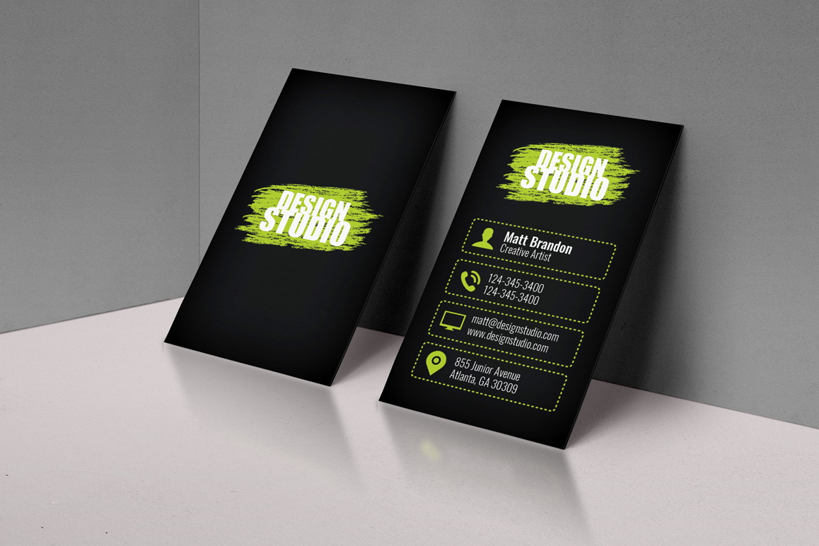 Black Classic Business Card example image 1