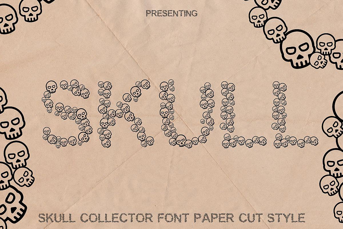 Skulls Font - Fun Craft Font Paper Cut Style example image 1