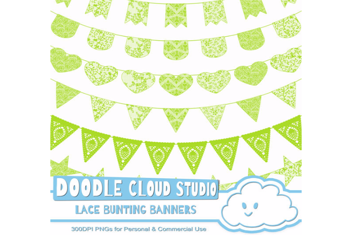Green Lace Burlap Bunting Banners Cliparts, multiple lace texture flags, Transparent Background, Instant Download, Personal & Commercial Use example image 1