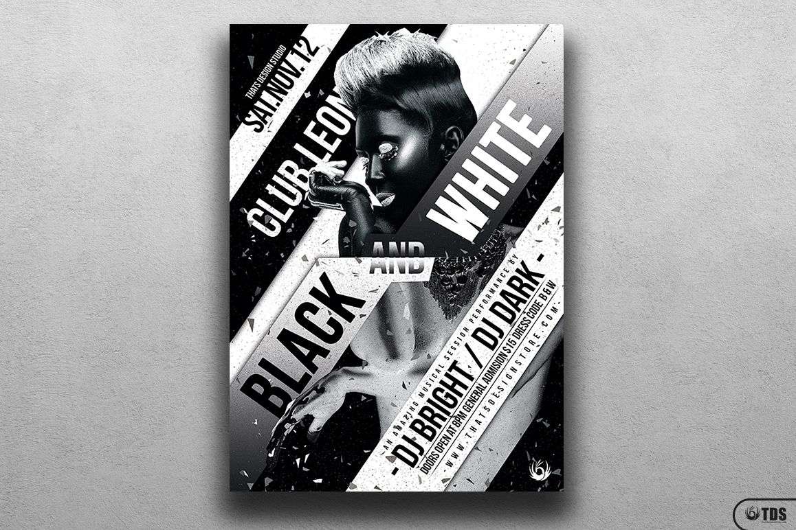 Black and White Party Flyer Template example image 1