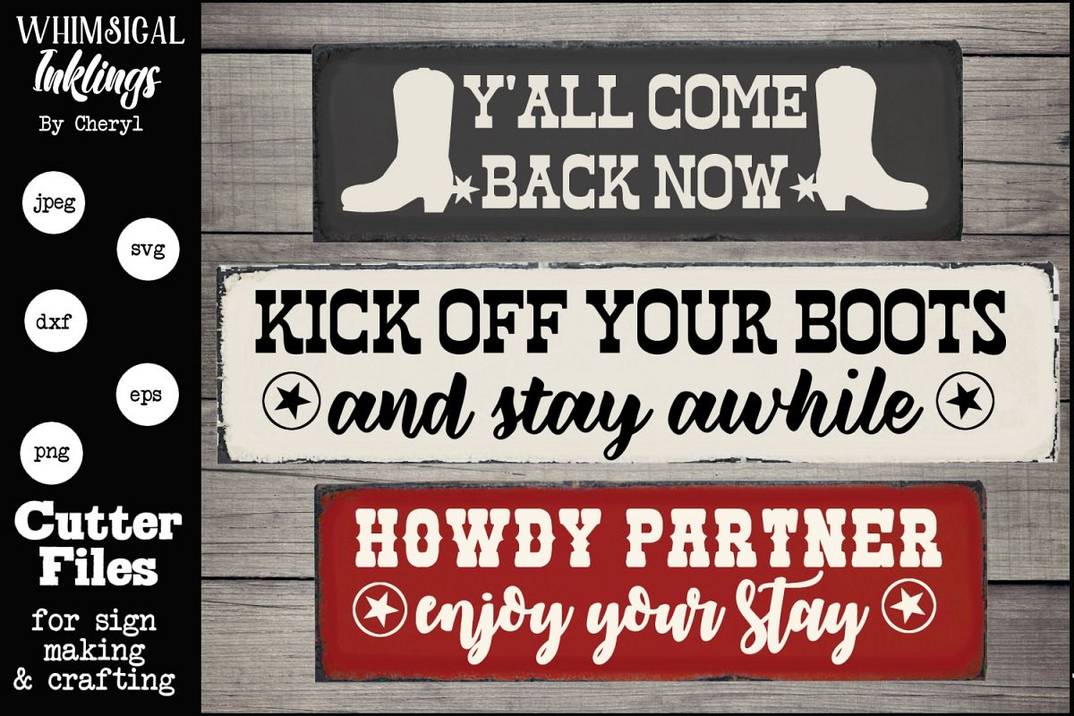 Kick Off Your Boots Western SVG Sign Trio example image 1