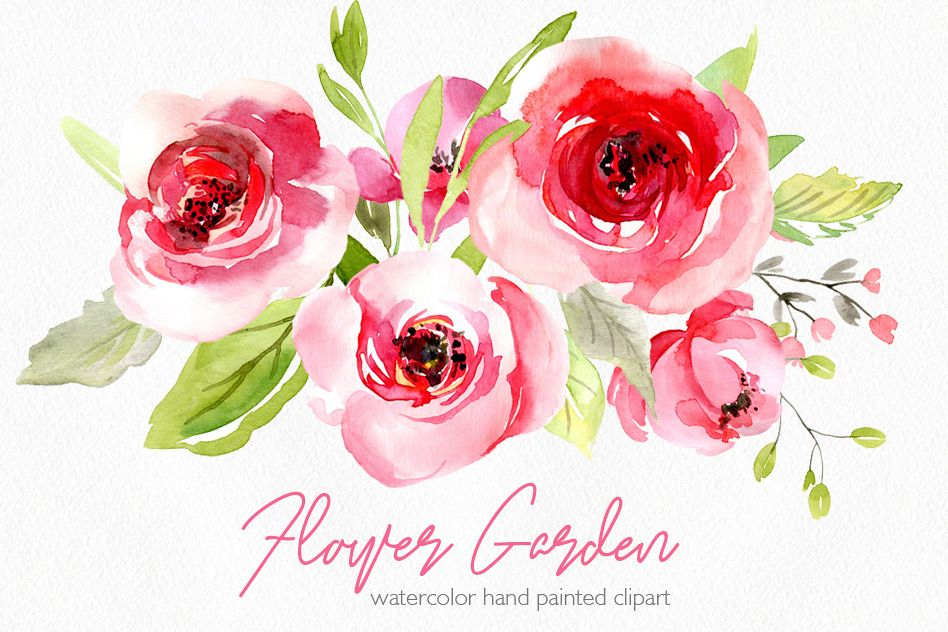 Watercolor pink roses flowers leaves PNG example image 1