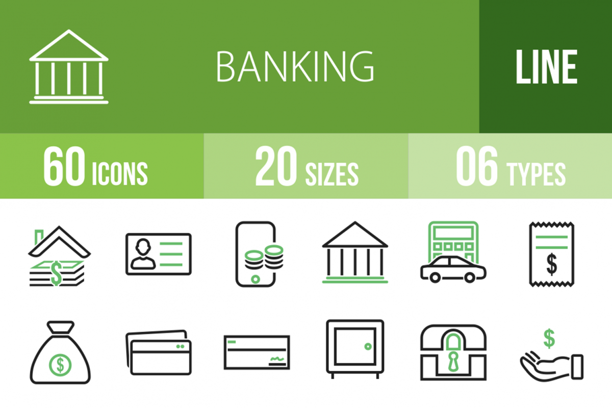 60 Banking Line Green & Black Icons example image 1