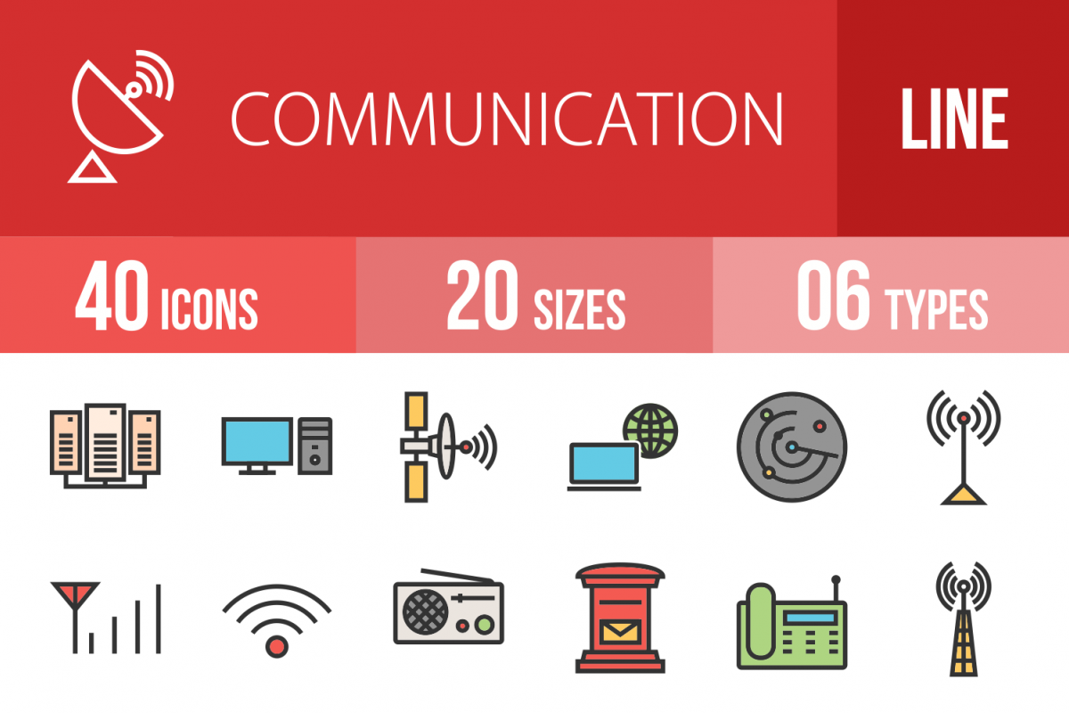 50 IT & Communication Linear Multicolor Icons example image 1