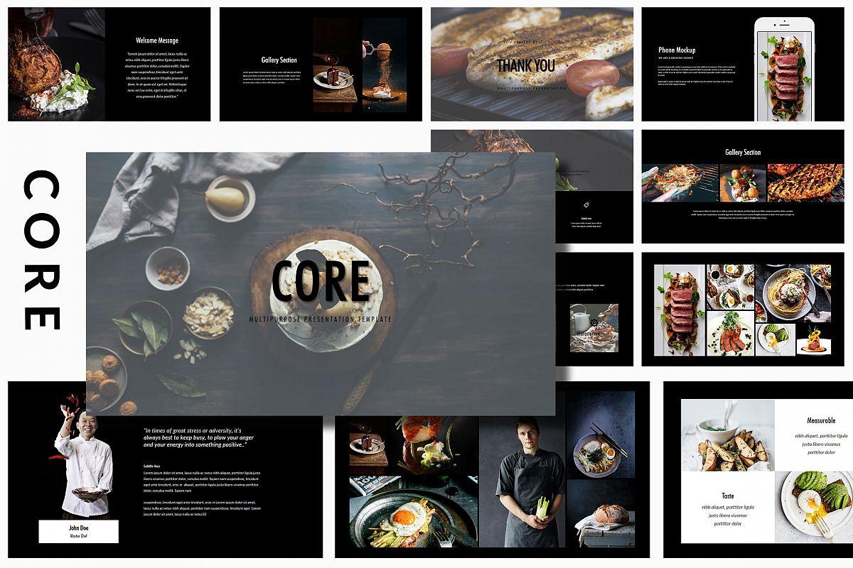 Core - Food PowerPoint Dark example image 1