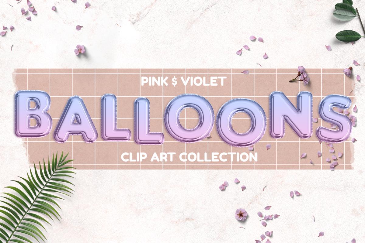 Pink and Violet Foil Balloons Clip Art Set | Rose Gold Alpha example image 1