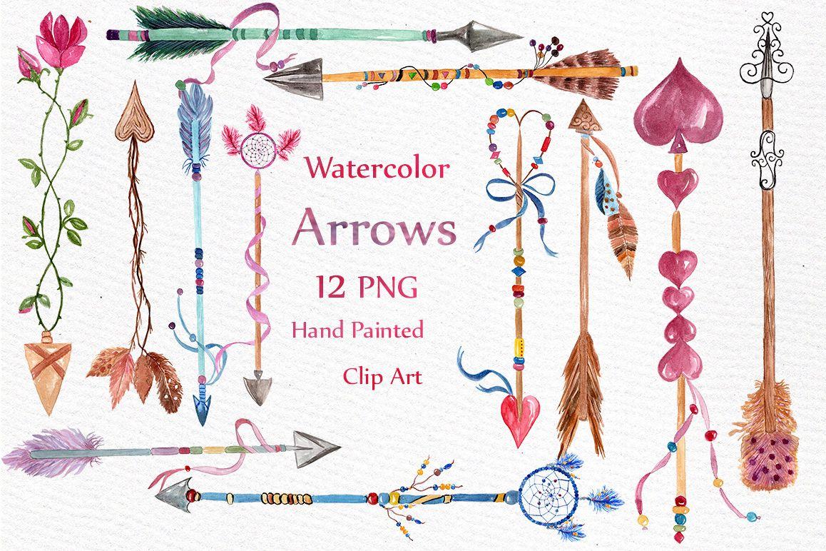 Watercolor arrows clip art example image 1
