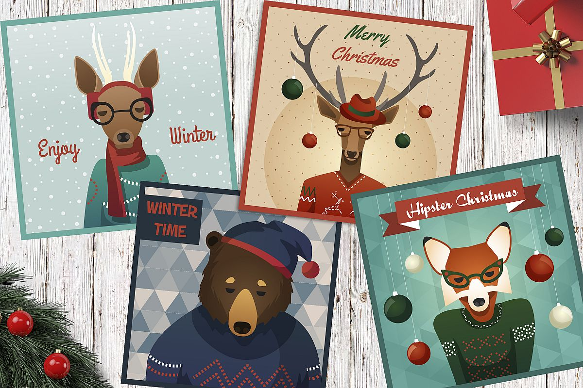 4 vector winter holiday posters with animals example image 1