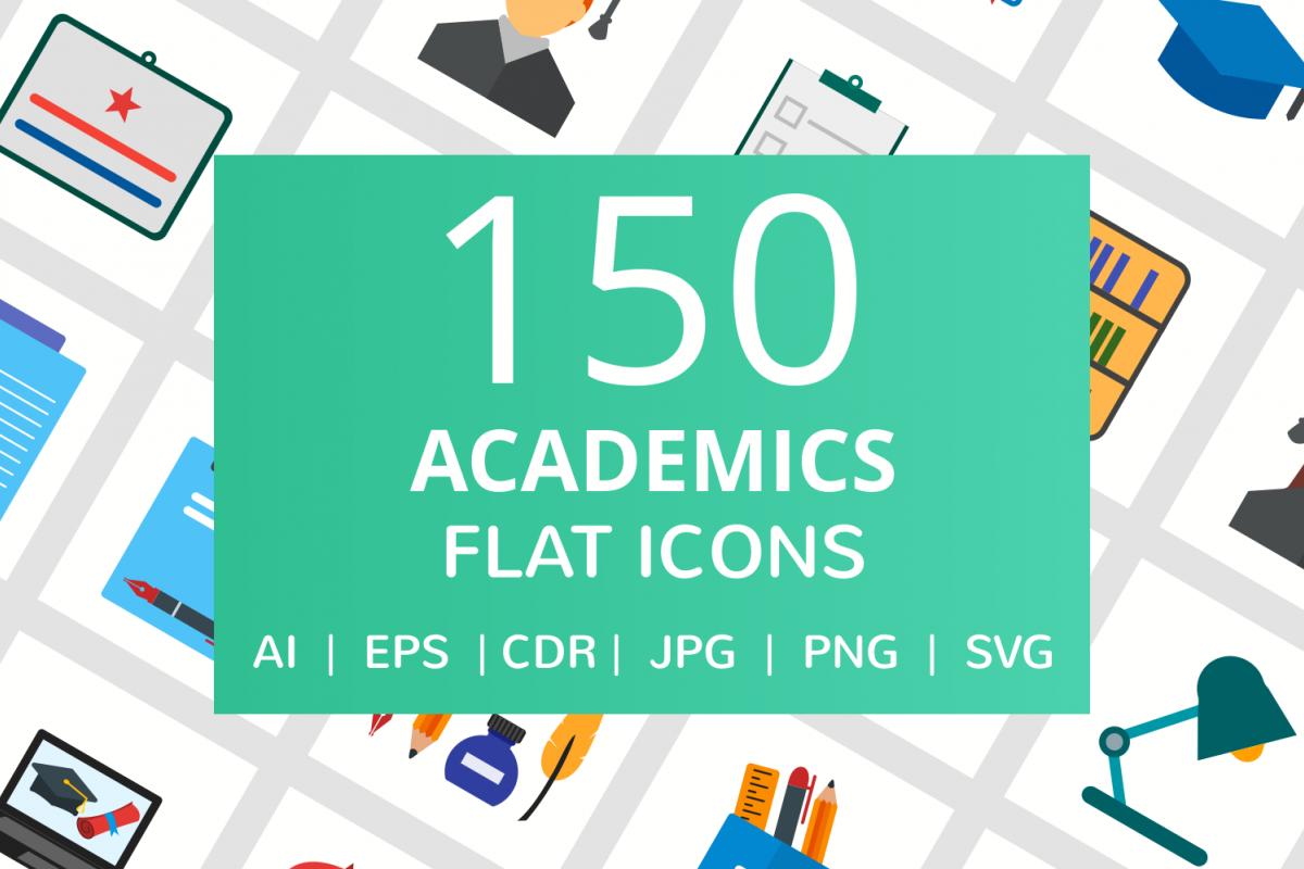 150 Academics Flat Icons example image 1
