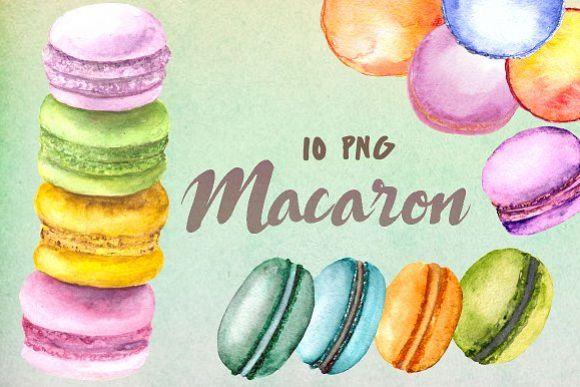 Watercolor Macaron Clip Art Set example image 1