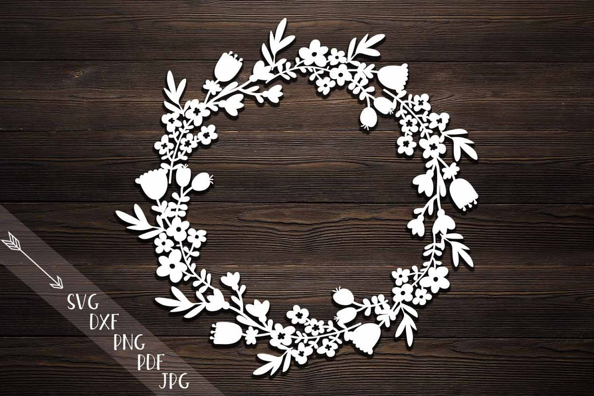Flower Wreath Paper Cutting Template Svg Dxf File