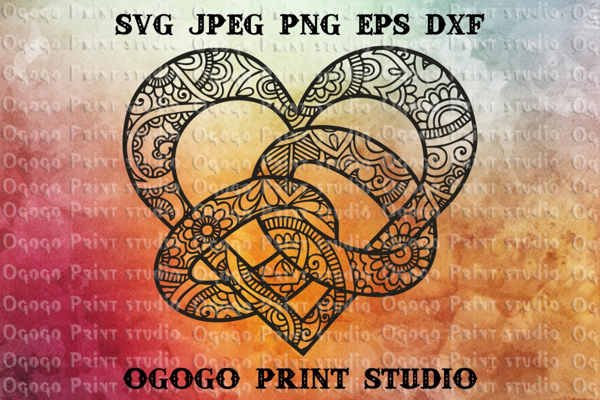 Heart SVG, Valentines day svg, Zentangle SVG, Mandala svg example image 1