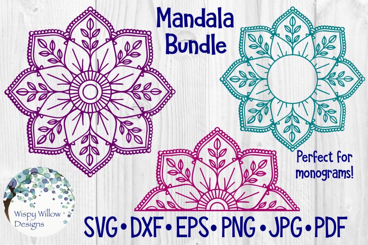 Mandala Bundle SVG Bundle | Monogram Mandala | Half Mandala example image 1