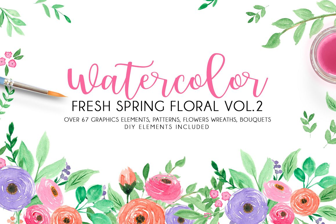 Watercolor fresh spring floral vol.2 example image 1