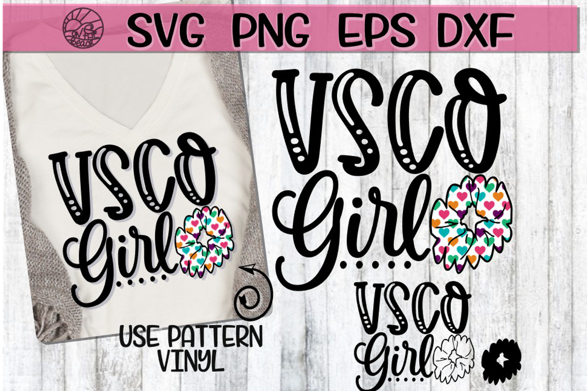 VSCO Girl - Scrunchie - SVG PNG EPS DXF example image 1