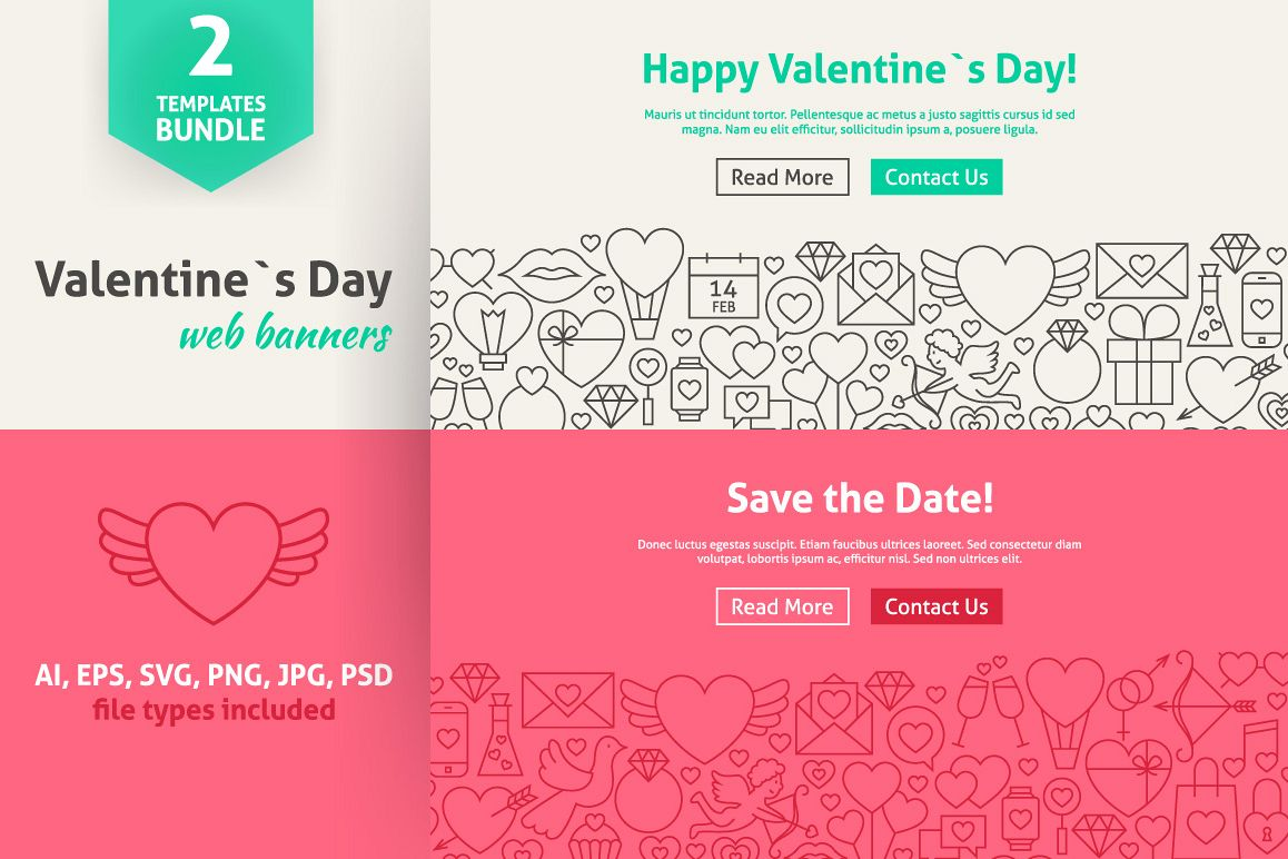 Valentine's Day Line Art Web Banners example image 1