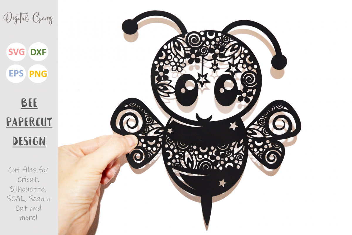 Bee paper cut SVG / DXF / EPS files example image 1