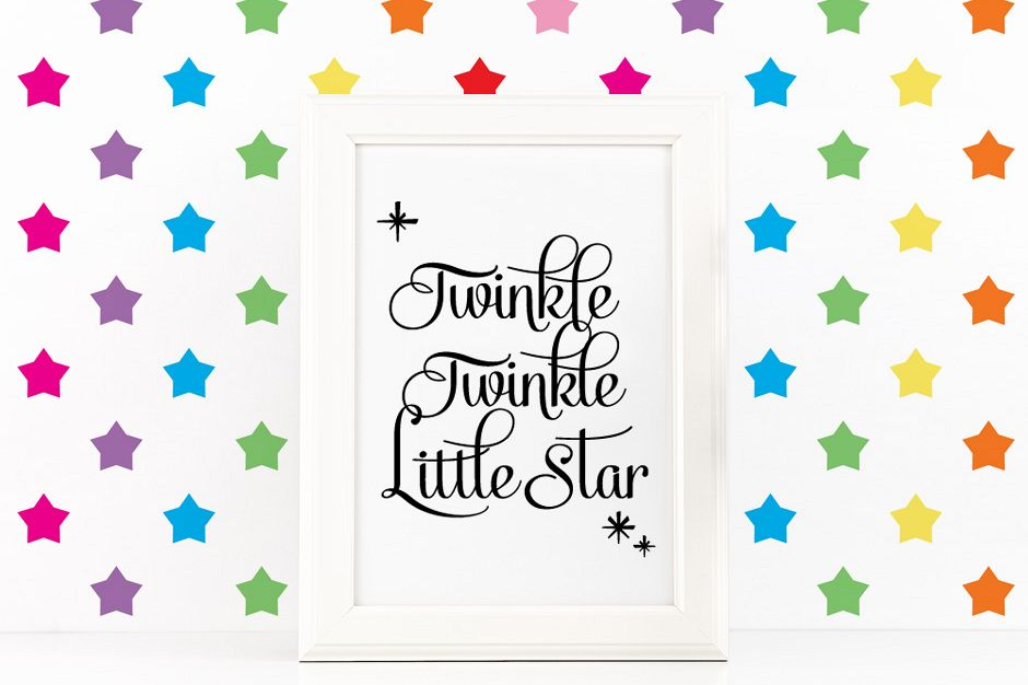 Twinkle Twinke Little Star Quote Inspirational Poster to Print in Black + SVG files example image 1
