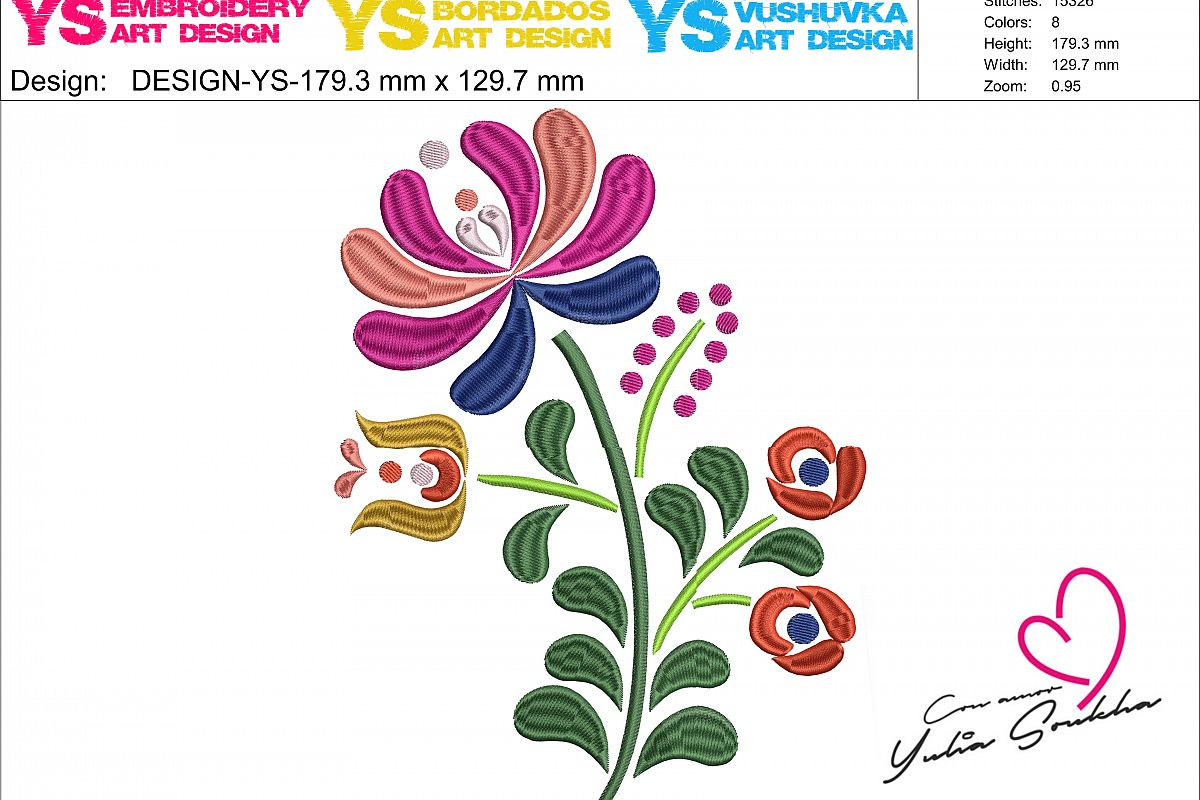 Flower JAZ embroidery design, 179 x 129.7 mm (7´ x 5´) embroidery matrix, different sizes embroidery design Embroidery matrix, Mexican design example image 1