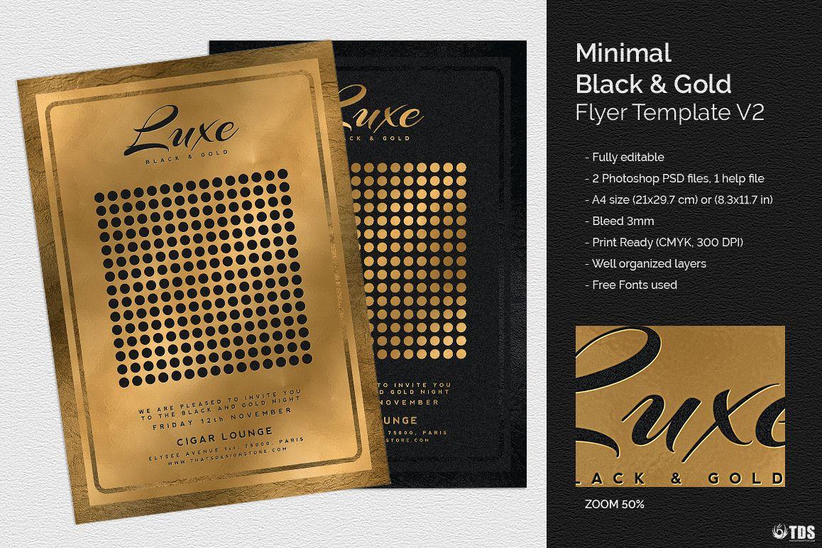 Minimal Black And Gold Flyer Template V Design Bundles