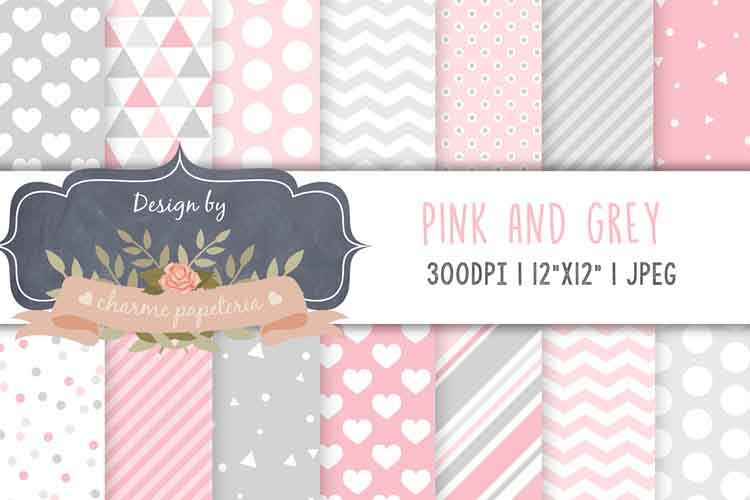 Pink and gray digital paper, Geometric pink and gray triangl example image 1